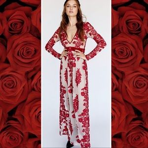 Chili Pepper Red Temecula Lace Mesh Maxi Dress